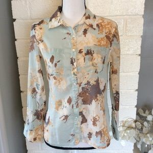Talbots Cotton Button Up Long Sleeve Floral Shirt